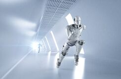 Free Cyborg Running With Fast Speed Stock Image - 207690181