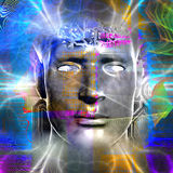 Cyborg's head. Cyborg artwork with computer electronics Stock Photos