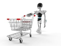 Cyborg with shopping cart. Isolated on white background Stock Image