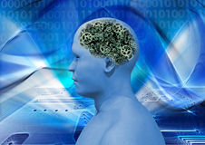 Cyborg showing brain gears Stock Images