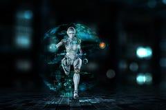Cyborg silver running woman. Mixed media. Cyborg shining silver woman running fast. Mixed media vector illustration