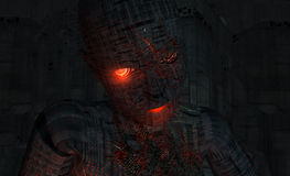 Cyborg soldier. High detail 3d render of cyborg soldier Stock Photography
