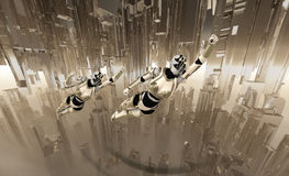 Cyborg soldiers flying. Cyborgs flying through futuristic city scape Stock Images