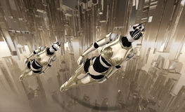 Cyborg soldiers flying royalty free illustration