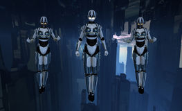 Cyborg soldiers hovering vector illustration