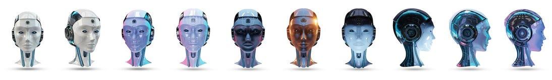 Cyborg sztucznej inteligenci paczki 3D kierowniczy rendering