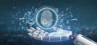 Cyborg tenant une identification d'empreinte digitale de Digital et un c binaire illustration stock