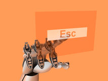 Cyborg touching Esc button Stock Image