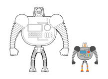 Cyborg Warrior coloring book. Man machine from outer space. Mech Royalty Free Stock Image