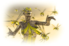 Cyborg wasp leader. Cyborg commands wasp platoon to attack Royalty Free Stock Photos