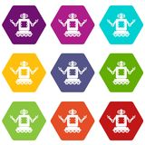 Cyborg on wheels icon set color hexahedron. Cyborg on wheels icon set many color hexahedron isolated on white vector illustration Stock Photography