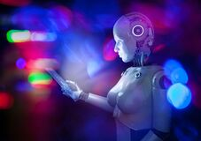 Free Cyborg With Tablet Royalty Free Stock Image - 187734396
