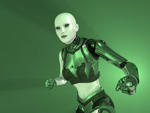 Cyborg woman. 3d render of woman cyborg Stock Images