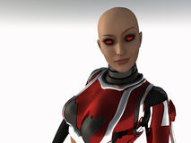 Cyborg woman. 3d render of woman cyborg Royalty Free Stock Images