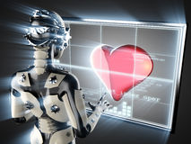 Cyborg woman and heart on hologram display Royalty Free Stock Images