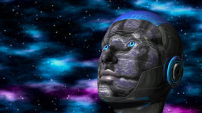 Cyborg Woman - Humanoid in deep space Stock Photo