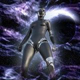 Cyborg Woman - Humanoid in deep space Stock Images