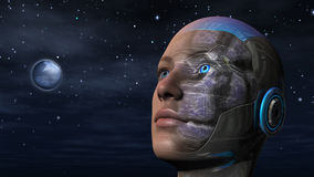Cyborg Woman - Humanoid. Cyborg woman with night sky background Stock Image