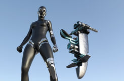 Cyborg Woman - Humanoid with sci-fi vehicle Stock Images