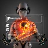 Cyborg woman manipulatihg hologram display Royalty Free Stock Images