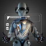 Cyborg woman manipulatihg hologram display Stock Photo
