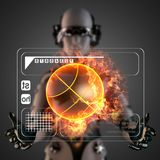 Cyborg woman manipulatihg hologram display Stock Image