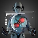 Cyborg woman manipulatihg hologram display Royalty Free Stock Image
