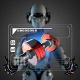 Cyborg woman manipulatihg hologram display Royalty Free Stock Photography