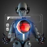 Cyborg woman manipulatihg hologram display Stock Photo