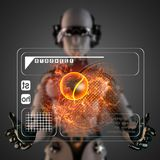 Cyborg woman manipulatihg hologram display. Robot woman manipulatihg hologram display Royalty Free Stock Photos
