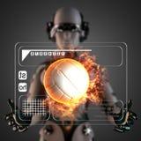 Cyborg woman manipulatihg hologram display Stock Photos