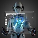 Cyborg woman manipulatihg hologram display Stock Images