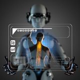 Cyborg woman manipulatihg hologram display Stock Photography