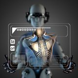 Cyborg woman manipulatihg hologram display Royalty Free Stock Photography