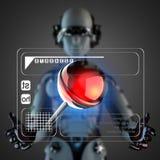 Cyborg woman manipulatihg hologram display Stock Photography