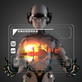 Cyborg woman manipulatihg hologram display Royalty Free Stock Photo