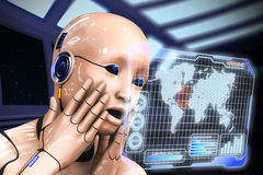 Cyborg woman is studying information. 3d rendering illustration. Photomontage cyborg woman is studying information. 3d rendering illustration Stock Photo