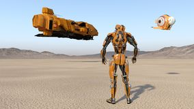 Cyborg worker with drone looking at flying spaceship, humanoid robot with spacecraft exploring deserted planet, mechanical android. 3D rendering stock illustration