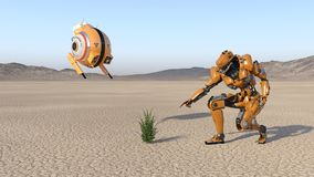 Cyborg worker with flying drone discovering a plant, humanoid robot with surveillance aircraft exploring deserted planet, mechanic. Al android, 3D rendering royalty free illustration