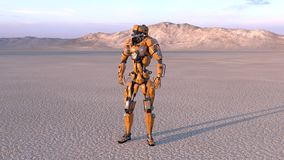Cyborg worker, humanoid robot in desert with mountains in the background, mechanical android, 3D render. Ing stock illustration
