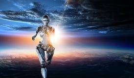 Cyborg zilveren lopende vrouw Gemengde media stock fotografie