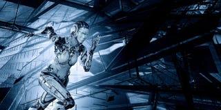 Cyborg zilveren lopende vrouw Gemengde media stock foto