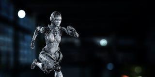 Cyborg zilveren lopende vrouw Gemengde media royalty-vrije stock foto's