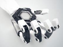 Cyborghand, die eine leere Medaille hält Lizenzfreies Stockfoto