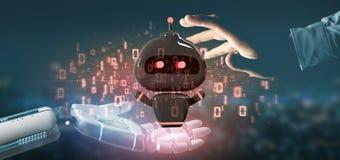 Cyborghandholding Virus chatbot mit Wiedergabe des binär Code 3d stockfoto