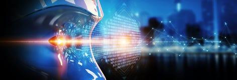 Cyborgkopf unter Verwendung der künstlichen Intelligenz, digitales inte zu schaffen stock abbildung