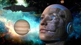 Cyborgkvinna - Humanoid Arkivbild
