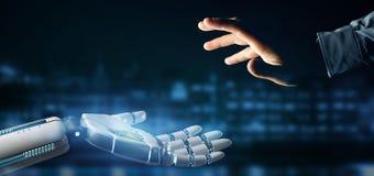 Cyborgroboterhand auf einer Wiedergabe des Stadthintergrundes 3d Lizenzfreie Abbildung