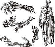 Cyborgs Biomechanics Set Royalty Free Stock Images