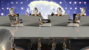 Cyborgs del trabajo futuro en oficina de la ciencia ficción en los ordenadores Loopable almacen de metraje de vídeo